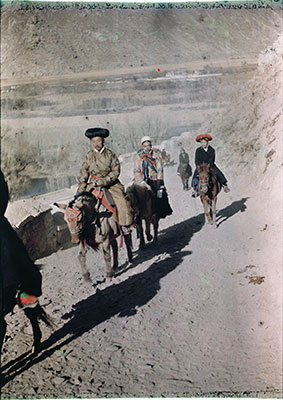 Officials riding up to Potala at New Year