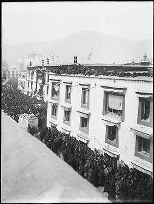Crowded street in Lhasa during festival