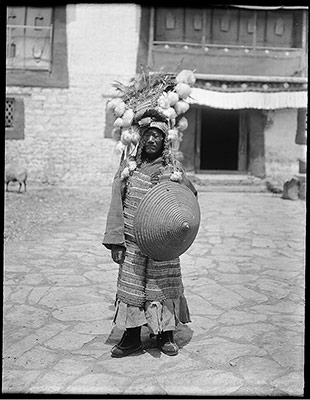 Tibetan foot soldier with old style armour and shield