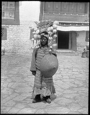 Tibetan foot soldier, with old style armour and shield