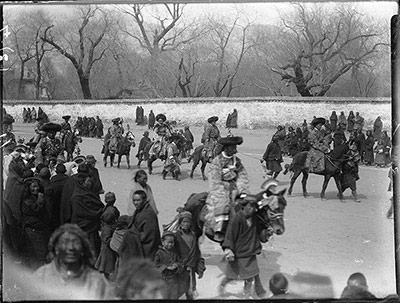 Old time cavalry in procession in Lhasa