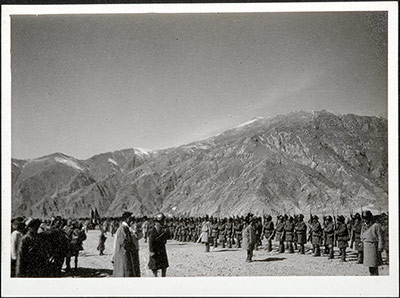 Tibetan soldiers being reviewed by Basil Gould