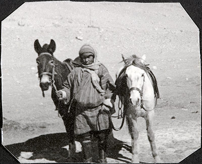 Syce with horse and mule on the Kambala Pass
