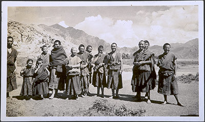 Group of young monks in the countryside