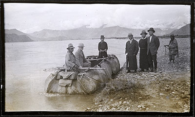 Harry Staunton in a coracle leaving Lhasa, Sept 1 1940
