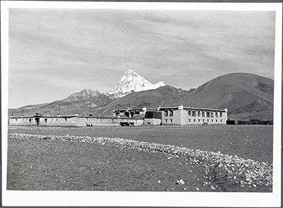 Phari rest house with Mount Chomolhari in background