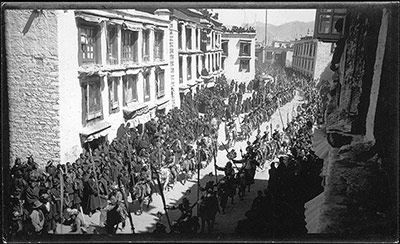 Procession of armed cavalry in the Barkhor Lhasa