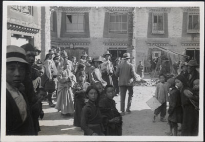 Members of Mission in street in Lhasa near Barkhor