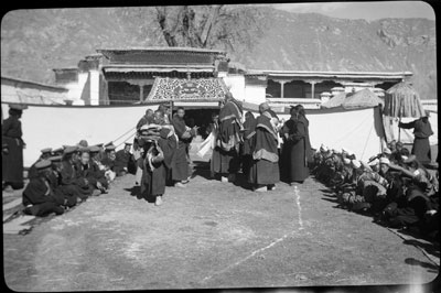 Regent receiving presents upon his return to Lhasa