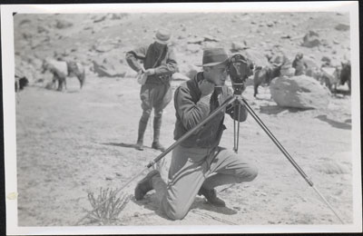 F. S. Chapman with a cine camera near Lhasa