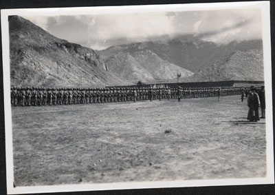 Tibetan troops at military review