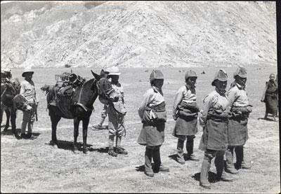 Tibetan soldiers in old-style uniform