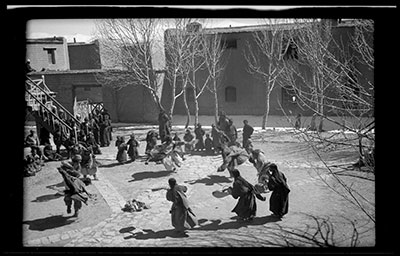 Kampa dancers, British Trade Agency courtyard in Gyantse