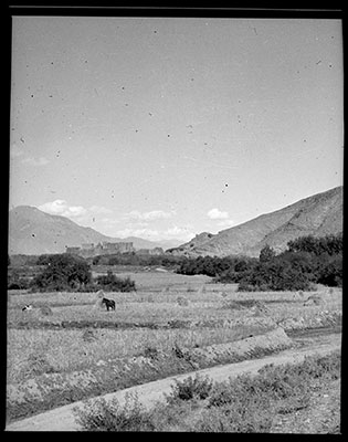 Fields at Chidesho with Gongkar Dzong? in the back