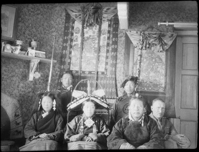 Taring family in Hopkinson's room in Gyantse fort