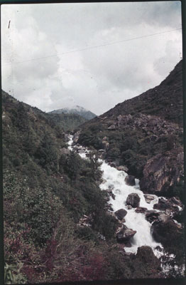 Mountain stream in rocky terrain in the Chumbi valley