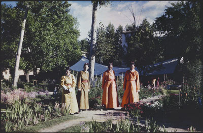 Four Tsipon officials in the garden of Dekyi Lingka