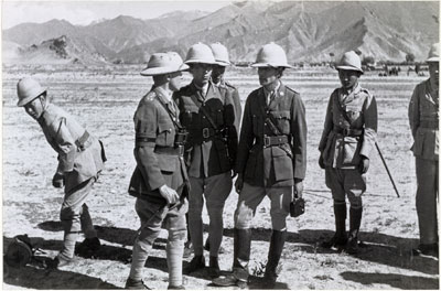 Tibetan officers at military review